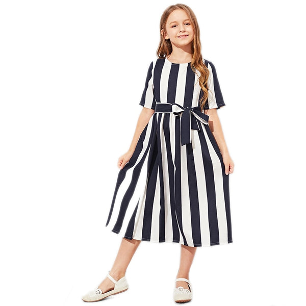 Code: G9833251 SHEIN Girls Tie Waist Button Striped Casual Dress Kids Clothing 2019 Spring Korean Short Sleeve Elegant A Line Girls Dresses Free Shipping Delivery 15-40 days