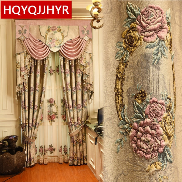 European top Beige 4D embossed large flower thick blackout  Window Curtains for Living Room high quality villa Bedroom Curtain