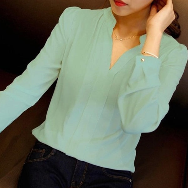 Spring Autumn White Blouses Office Shirts Women V-Neck Tops Long Sleeve Chiffon Blouse Female Ladies Work Wear 3 Colors