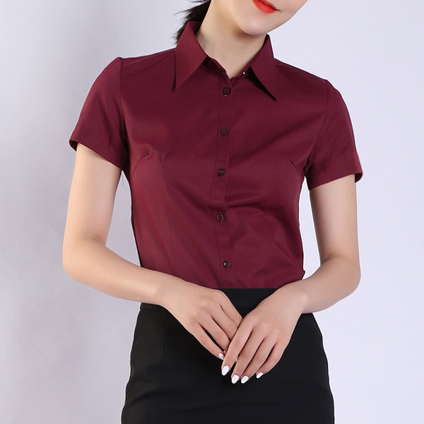 Womens Tops and Blouses Cotton Women Shirts Solid Women Blouses Short Sleeve White Plus Size XXXL/4XL Blusas Femininas Elegante