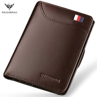 Code: W488565 WILLIAMPOLO Men Wallet mens slim Credit Card Holder Bifold Genuine Leather mini Multi Card Case Slots Cowhide Leather Wallet New