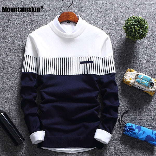 Code: S785536 Mountainskin New Men's Autumn Winter Pullover Wool Slim Fit Knitted Sweater Striped Mens Brand Clothing Casual Pull Homme SA752