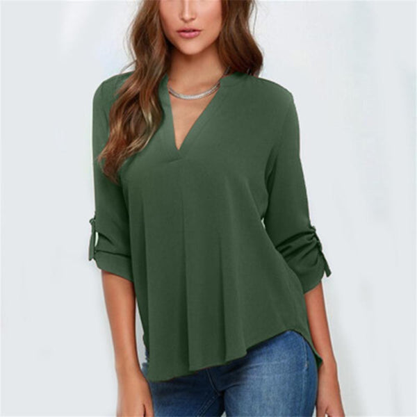 Women Solid Color Folded Sleeve Chiffon V-neck Blouse Pleated Long Sleeves Loose Chiffon Shirt for Women Tops 5XL