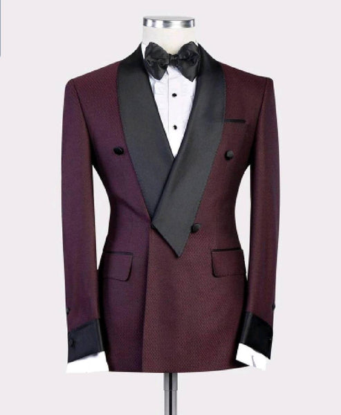 2019 New Burgundy Red With Black Lapel Men's Slim Fit Formal Suits Custom Made 2 Pieces Wedding Tuxedos Suits Jacket Pants