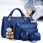 Hot Fashion Elegant 1 Set Large Capacity Bags Women Lady Shoulder Crossbody Bag Wallet Bear Pendant PU Leather for Travel KABEST