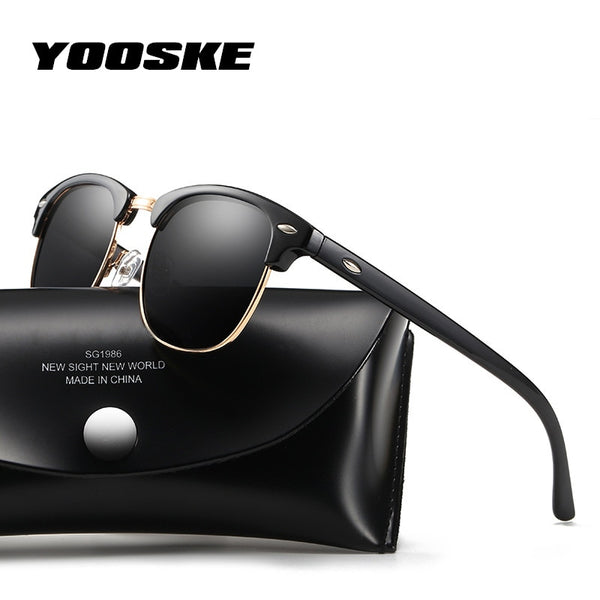 Code: S654525 YOOSKE Retro Polarized Sunglasses Women Men Classic Brand Designer Vintage Square Sun Glasses Driving Mirror UV400 Eyeglasses