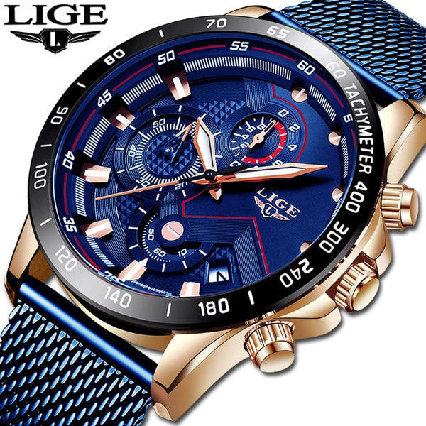 Code: W488563  Relojes LIGE Mens Watches Top Brand Luxury Fashion Blue Business Quartz Watch Men Stainless Steel Waterproof Military Watch Male USD38.00 (Free Shipping)