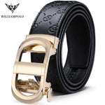 WILLIAMPOLO Men's Belt Business Casual Leather Automatic Buckle Belt Medium and Young Belt Gold Luxury Belt Original New 2019