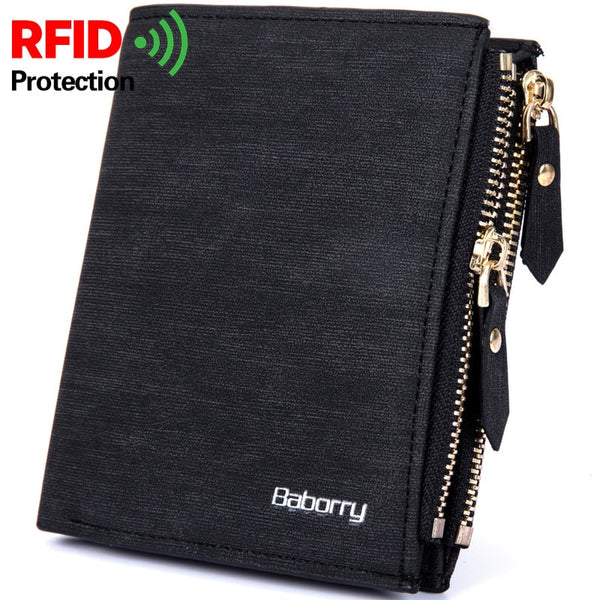 code: P155422 Vintage Men Wallet RFID Theft Protect Coin Bag Zipper Purse Wallets for Men with Zippers Magic Wallet Short Luxury Men's Purses