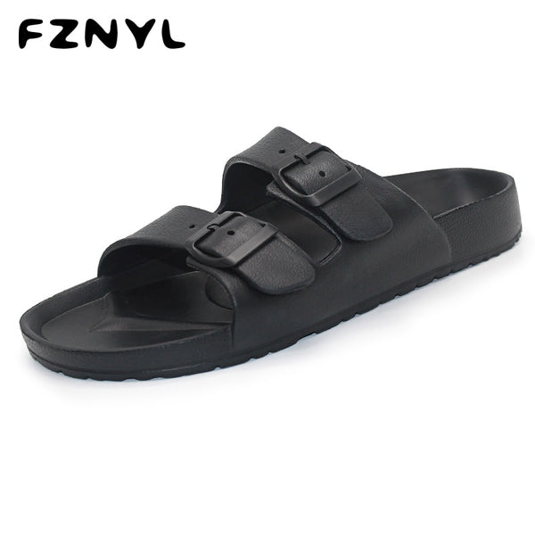 Code: S693321 FZNYL Men Slippers EVA Non-slip Outdoor Beach Flip Flops 2019 Summer Casual Shoes Slides Black Sandal Plus Size 40-46