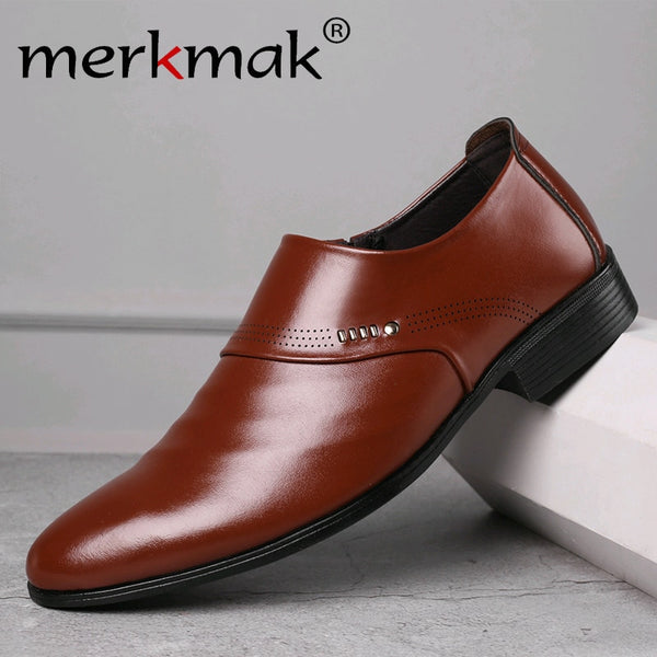 code: S255422 Merkmak 2019 new business men Oxfords shoes set of feet Dress Shoes Male Office Wedding pointed men's leather shoes