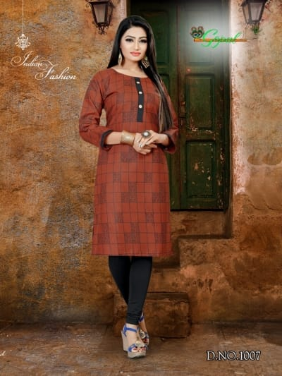 Indian Traditional Kurti 3 Quarter Sleeve Cotton Kurta Bollywood Designer Stylish Tunic Printed Top Women Dress Daily Party Wear