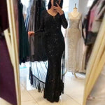 Code: L256635 Black V Neck Full Sleeved Maxi Dress Striped Sequined Patchwork Mesh Tassel Party Dress Long Stretchy Dress
