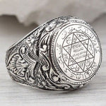 Code: R653325 Men's Hip Hop Antique Silver Carved Arabic Pentagram Star Pattern Knuckle Rings Punk Jewelry Rock Cool Masculine Gifts Free Shipping Delivery 15-40 days