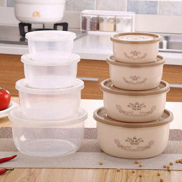 4pcs/set Plastic Sealing Food Storage Box Refrigerator Crisper Box Vegetable Food Preservation Storage Box Fresh Pot Container @