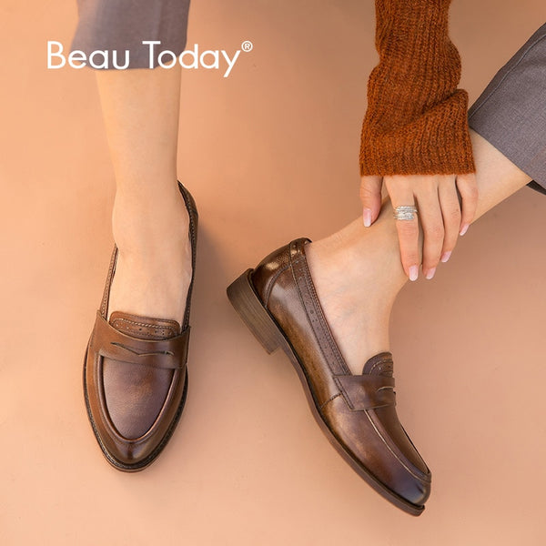 Code: S466855 BeauToday Classic Penny Loafers Women Genuine Cow Leather British Style Pointed Toe Slip On Female Flat Shoes Handmade 27112