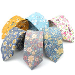 Vintage Men's Floral ties for Men Casual Cotton Slim Tie Gravata Skinny Wedding Business Neckties New Design Men Ties