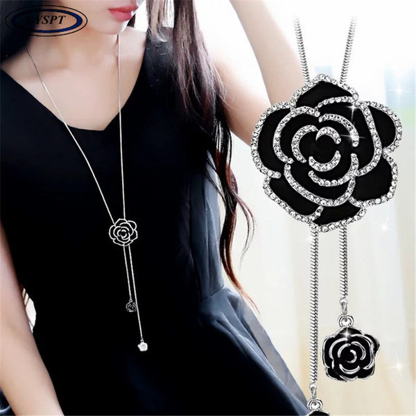 BYSPT Zircon Black Rose Flower Long Necklace Sweater Chain Fashion Metal Chain Crystal Flower Pendant Necklaces Adjusted