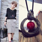 Women Pendant Necklaces Drop Long Paragraph Sweater Chain  Decorative Crystal Necklace Pendant