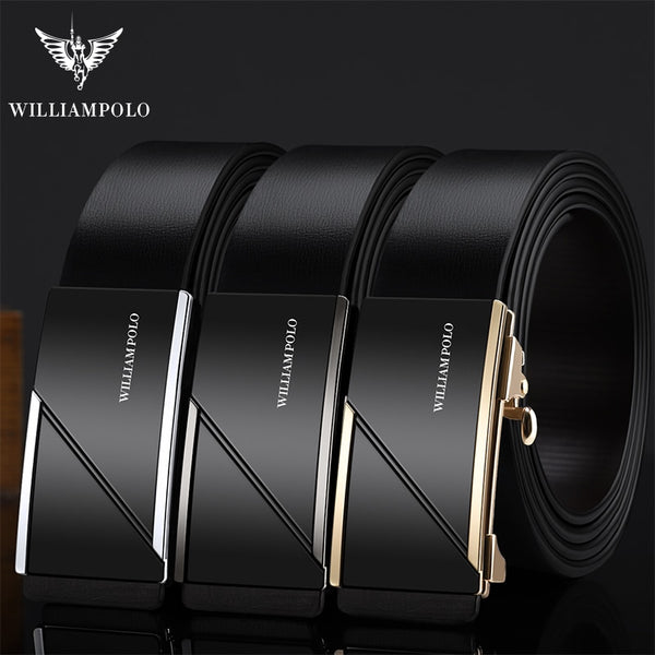 WILLIAMPOLO men belt Leather Strap Male Automatic Buckle Belts