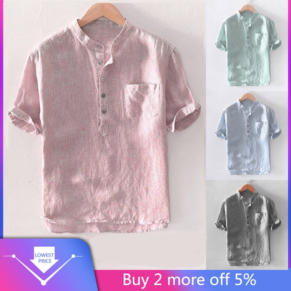 Men's Baggy Stripe Cotton Linen Short Sleeve Button Pocket Shirts Tops Blouse M-3XL camisas hombre manga larga comfortable  #30