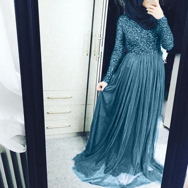 Code: L362254 Women Fashionable dress elegant Muslim ethnic style Long Sleeve Splice Tulle Party elegant full length swing ladies Maxi Dress