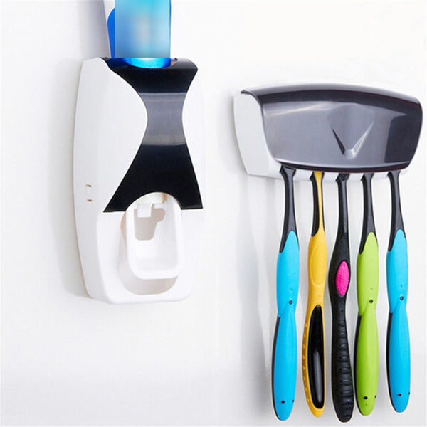 Code: H486631444 Bathroom Gadgets Automatic Toothpaste Dispenser + 5pcs Toothbrush Holder Set Wall Mount Rack Bath Oral Bathroom Accessories Free Shipping Price USD24.11