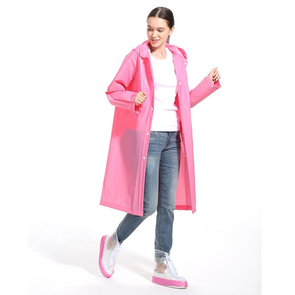 Code: R944525 Fashion EVA Women Raincoat Thickened Waterproof Rain Coat Women Clear Transparent Camping Waterproof Rainwear Suit Free Shipping Delivery 15-40 days