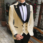 Aesido Casual Men Suit Slim Fit 3 Pieces Formal Prom Tuxedos Double Breasted Suits for Wedding Groomsmen(Blazer+Vest+Pants) 2019