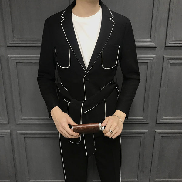 2019 Spring Long Sleeve Belt Decoration Man's Suit Korean Self-cultivation Weave Bring Full Dress Suit Man Suit Ternos Masculino