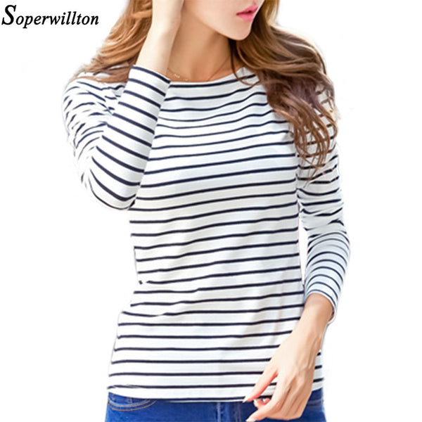 Soperwillton Cotton T-shirt Women 2019 New Autumn Long Sleeve O-Neck Striped Female T-Shirt White Casual Basic Classic Tops #620
