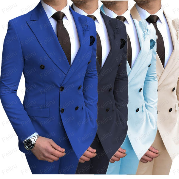 Price: MVR2965.73 Double Breasted Mens Suit For Wedding Groom Groomsmen Tuxedos Men Formal Prom Office Party Slim Blazer Suit (Jacket+Pants) Free Shipping - Estimated  delivery 20-30 days