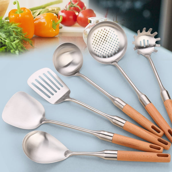 Kitchen Utensil  Spatula Colander Spoon Soup Spoons Slotted Shovel Stainless Steel Kitchenware Wooden Handle Cookware Cozinha