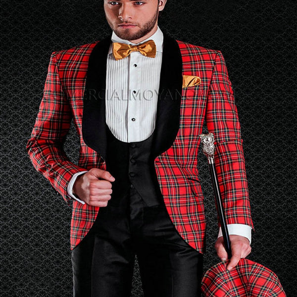 Code: MS78554 - Scottish Plaid Groom Tuxedos for Wedding Prom Mens Suit Black Shawl Lapel Tailored Made 3 Piece Set Jacket with Black Pants Vest Free Shipping - Estimated Delivery 20-35 days
