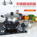 Stainless Steel Extra Bottom Extra High Steamer Pot Cookware Food Induction Soup&Stock Pots Home Kitchen Cooking Tools