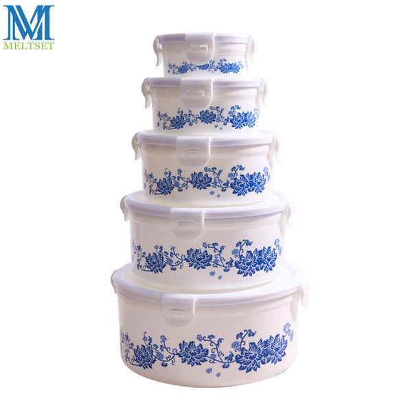 Chinese Style Food Container Printing Flower Refrigerator Crisper Box Fruit Vegetable Food Preservation Plastic Storage Box