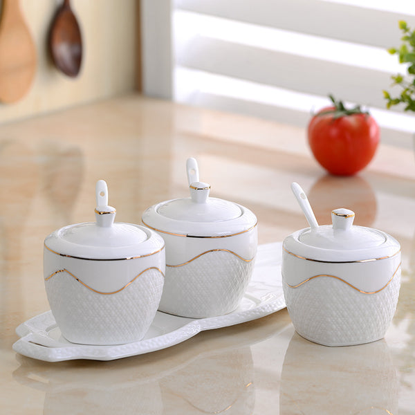 3pcs/Set Seasoning Pot spice container White Ceramic Sugar Bowl With Cover Ceramic Spoon,Porcelain Plate Spice Kitchen Supplies