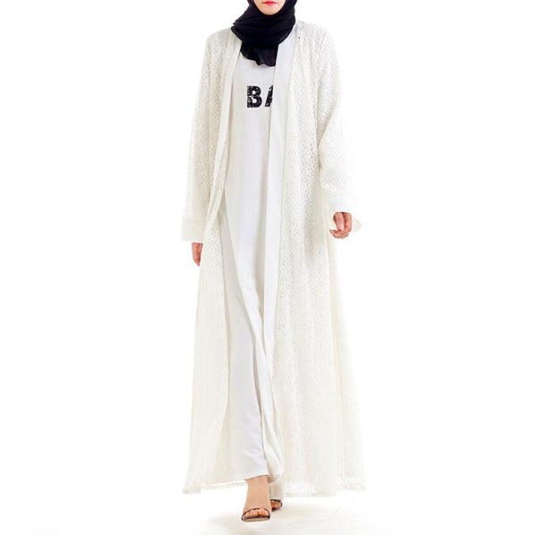 Code: A77742588 New Muslim Clothing Women's Dress for Namaz Arap Elbisesi Kaftan Burka Women White Abaya Robe Hidjab Lace Indonesia Cardigan KJ Free Shipping Delivery 15-40 days