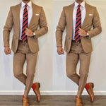 Price MVR2523.54 Brown Wedding Tuxedos 2020 Notche Lapel Slim Fit Back Vent Groomsmen Mens Suits 2 Pieces(Jacket+Pants) Free Shipping Estimated Delivery 20-30 days