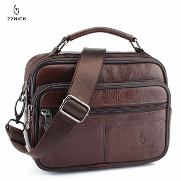 Price USD28.60 - Code:B65339996  2020 NEW Small Genuine Cowhide Leather Men's Shoulder Bag Clutch Handbag Messenger Male Bags Crossbody Sling Tote Small