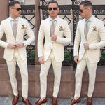 Price: MVR2590.80 Ivory Men Suits Peaked Lapel Blazer Classic Fit Two Pieces Custom Made Wedding Tuxedos For Groom Wear (Jacket + Pants) Free Shipping Estimated delivery 20-30 days