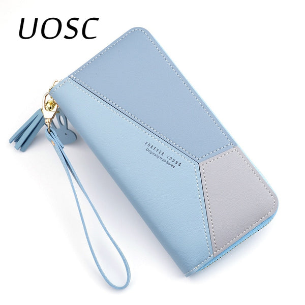 UOSC Fashion Ladies Wallet Women Long Wallets Zipper Purse Patchwork Panelled Wallets Big Capacity Clutch Money Bag Card Holder