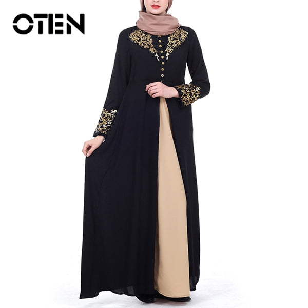 OTEN 2020 Elegant Printed Muslim Women Dresses Abayas Robe Patchwork With Button Party Ladies Dubai Turkish Clothing Female New