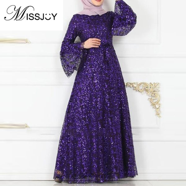 MISSJOY Abayas For Women Muslim 2020 Formal Party Long Robe With Flare Sleeves O-Neck Sequin Elegant Dubai Clothing Female New
