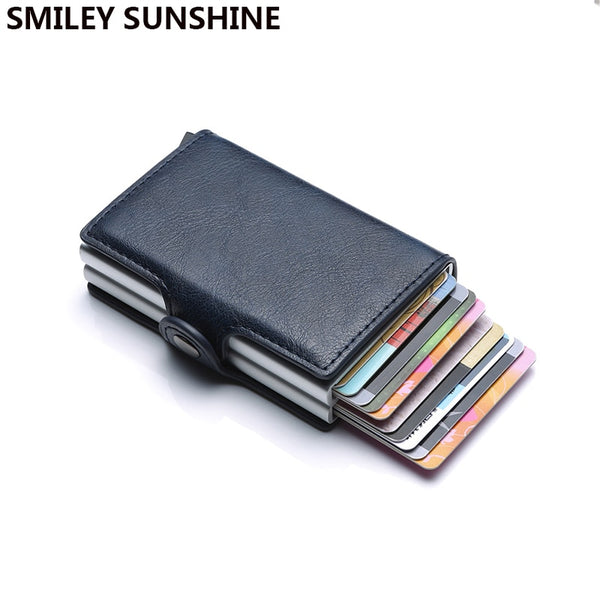 Top Quality Rfid Wallet Men Money Bag Mini Purse Male Aluminium Card Wallet Small Clutch Leather Wallet Thin Purse carteras 2020