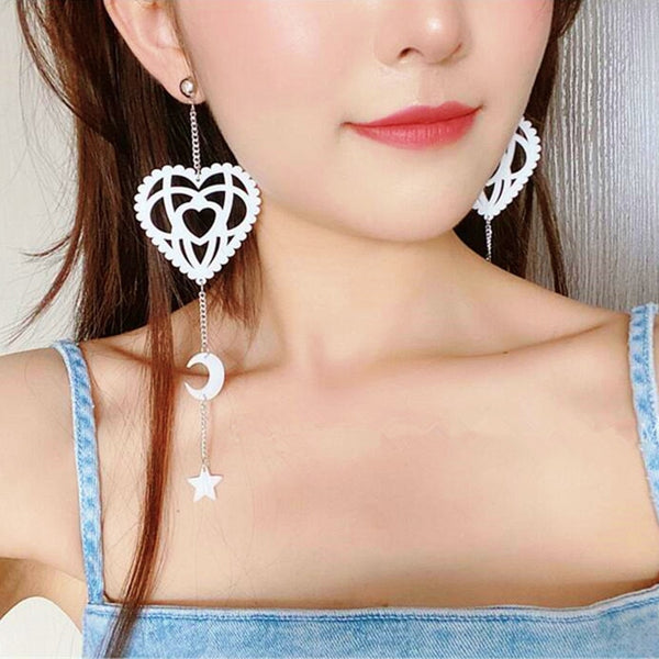 Summer White Hollow Out Heart Acrylic Drop Earrings Long Chain Star Moon Tassel Earrings For Women Fashion Jewelry Party Gifts