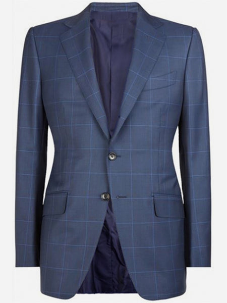 Price: MVR4975.74 Navy Windowpane Custom Suit James Bonde Tailor Made Suit Mens Plaid Suit Custom Made Suit Men Suit Blue Prince Of Wales Checks Free Shipping Delivery 20-40 Days