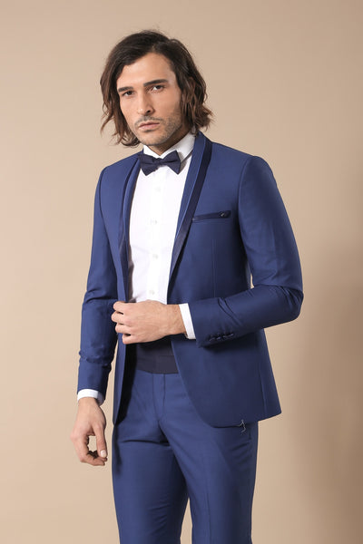 Price: MVR2964.80 Shawl Collar Navy Blue Groom Wear Men Suit Wessi Free Shipping Delivery 20-40 days