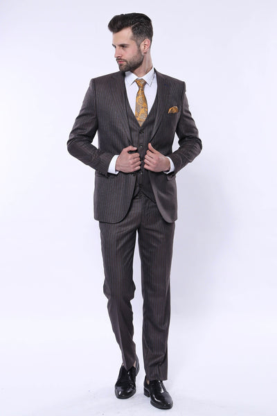 Price: MVR3814.28 Striped Slim Fit Brown Vest Suit Wessi Free Shipping - Estimated Delivery 20-40 days