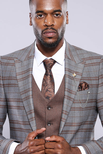 Price: MVR4084.77 Plaid Brown Jacket Pants Vest Solid Suit Wessi Free Shipping -estimated delivery 20-40 days